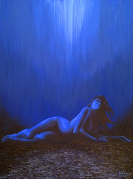 "Out of the Black and Into the Blue : 36"" x 48"" : oil on canvas"